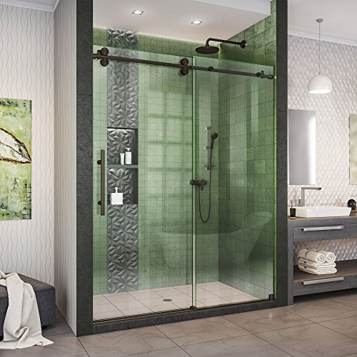 DreamLine Enigma-XO 56-60 in. W x 76 in. H Fully Frameless Sliding Shower Door in Oil Rubbed Bronze, SHDR-61607620-06