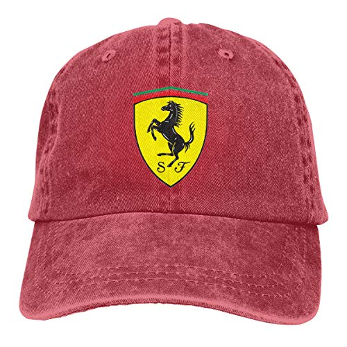 FipiAll Adult Men's Ferrari Logo Cotton Baseball Caps Customizable Six Panel Hat Suncreen Cowboy Cap Red (Logo Für Ferrari)