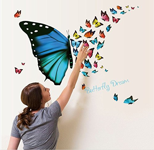 Amaonm Removable Cartoon PVC 3D DIY Colorful Butterfly Wall Decal /& LetteringButterfly Dream Wall Stickers Murals Home Wall Art Decor for Kids Room Girls Bedroom Bathroom