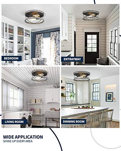 Flush Mount Light Fixture, HANASS 12 inch Farmhouse Wood Flush Mount Ceiling Light, 2-Light Ceiling Lamps for Living…