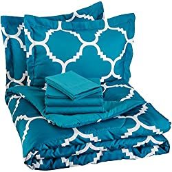 AmazonBasics 7-Piece Bed-In-A-Bag - Full/Queen, Teal Trellis