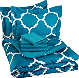 Best AmazonBasics Beds - AmazonBasics 7-Piece Bed-In-A-Bag - Full/Queen, Teal Trellis Review
