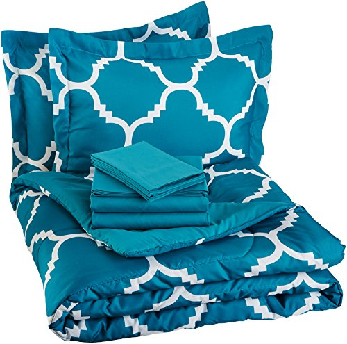 AmazonBasics 7-Piece Bed-In-A-Bag - Full/Queen, Teal Trellis (Teal Bed Set Queen)