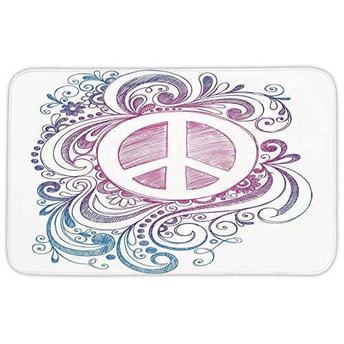 Rectangular Area Rug Mat Rug,Groovy Decorations,Classic Hand Drawn Style Peace Sign and Swirls Freedom Change Hope Roll Icon,Pink Blue White,Home Decor Mat with Non Slip Backing