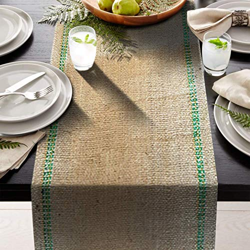 AAYU Premium 3 Pack Burlap Table Runner | 2 Green Inlay 12 inch x 10 Yards Eco-Friendly Natural Jute Product 15 X 72 Inches Equivalent Table in Each]()