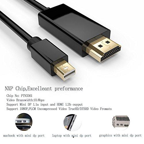 Mini DisplayPort a cable HDMI para Apple/proyector/TV LCD/cámara de vigilancia_negro