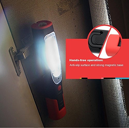 Portable Rechargeable LED Work Light/Flashlight, Spotlight+Floodlight, UL-listed power supply + Car charger, Dual Magnetic Base & Hanging Hook for camping Car Repairing Workshop Emergency Lighting RWL-03 by TORCHSTAR (Image #7)