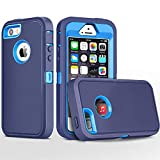 FOGEEK iPhone 5S Case,iPhone SE Case, Heavy Duty PC and TPU Combo Protective Body Armor Case Compatible for iPhone 5S,iPhone SE and iPhone 5 with Fingerprint Function (Deep Blue/Light Blue)