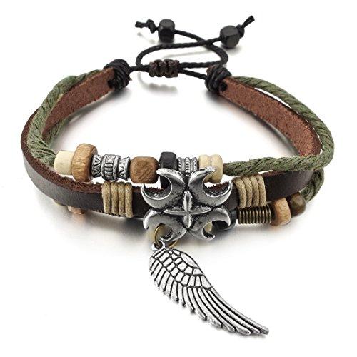 INBLUE Genuine Leather Bracelet Adjustable