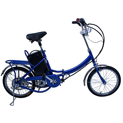 Elektro Klapprad, CRAVOG Aluminiumrahmen E-Bike Mittelmotor mit Rücktritt Inkl 12Ah/24V Akku und Ladegerät, Farbwahl 18 Zoll / 45cm (Blau)