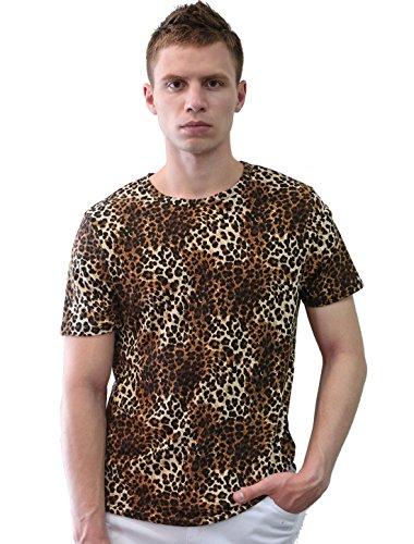 Allegra K Mens Stylish Leopard Prints Slim Summer T-shirt Extra Large - Print Cheetah Mens