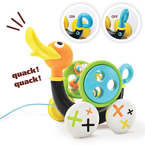 (Yookidoo Pull Toy - Pull Along Duck Whistles As Toddlers Pull It - with Bead Coaster - Ages 1-3 Years)