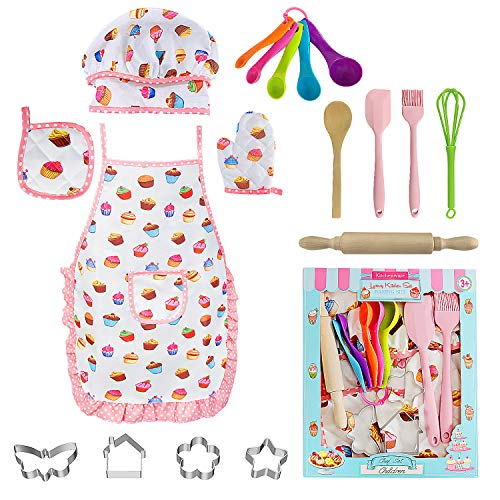 AFARELY Kids Cooking Baking Set - Children Dress Up Chef Role Play Costume Set 18 Pcs, with Apron Hat, Cooking Mitt, Utensils for Ages 3-11 Little Boys Girls