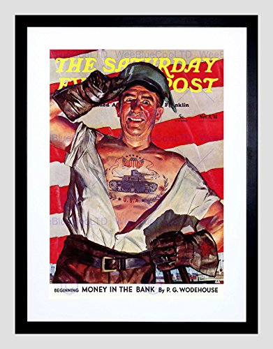 paper Cover Saturday Evening Post Tattoo Worker Framed Print B12X3186 ()