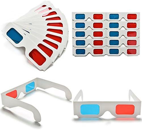 Lote de 20 Pcs de Gafas 3D Anaglifos de Papel Cartón: Amazon.es: Electrónica