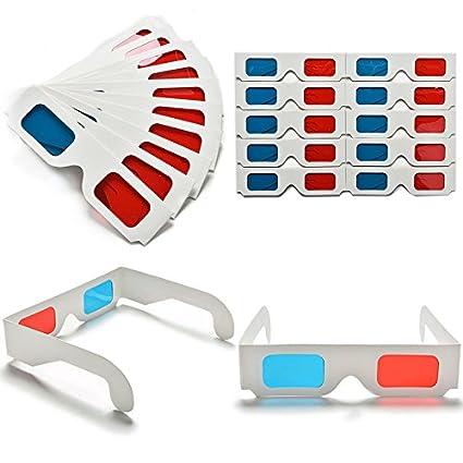 eb06df38ec 10 pcs Anaglifo Cartón Rojo Azul Cian Gafas 3D Papel para Película ...