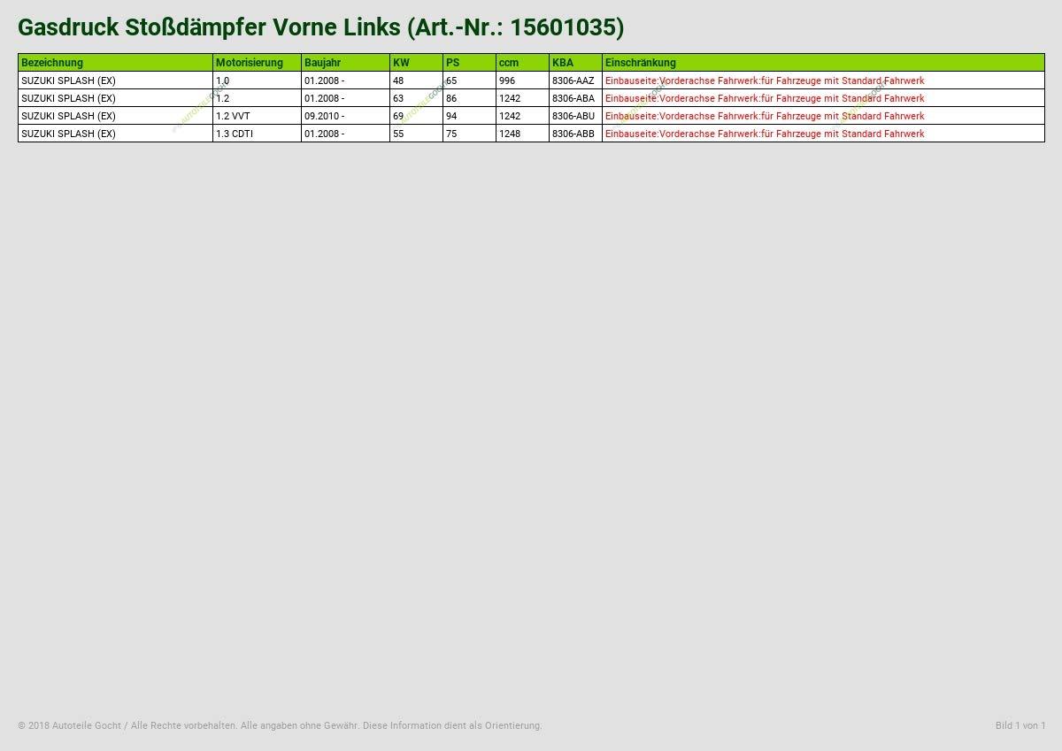 GASDRUCK STOSSD/ÄMPFER VORNE LINKS VON AUTOTEILE GOCHT