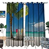 Best Tommy Bahama Beach Boats - Seaside Blackout Window Curtain Relaxing Scene on Remote Review