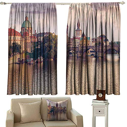 Decor Curtains By Apartment Decor,Pastoral View at Charles Bridge and Spires of Prague Central Europe Gothic Buildings Image,Multi 72