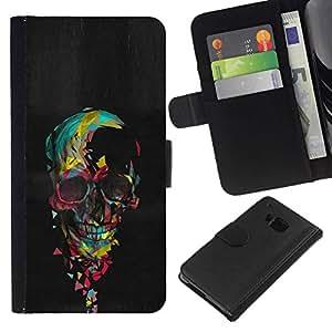 All Phone Most Case / Oferta Especial Cáscara Funda de cuero Monedero Cubierta de proteccion Caso / Wallet Case for HTC One M9 // Skull Colorful Black Paint Heart Pink