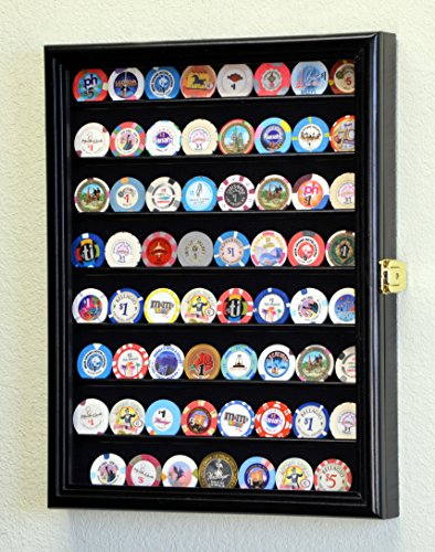 (Casino Chips Coins Display Case Cabinet Holder Wall Rack w/ UV Protection -Black)