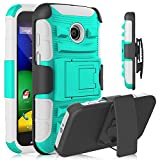 Moto E Case, Heng Tech Heavy Duty Holster Shockproof Case Cover with Kickstand + Belt Swivel Clip for Motorola Moto E 1st Generation Xt1021 / Xt1022 / Xt1023 (Turquoise / Grey)