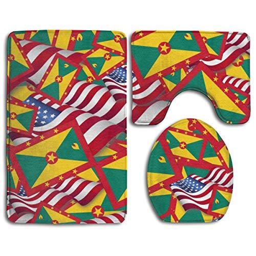 Grenada 3 Piece - Bathroom Rug Mats Set 3 Piece Grenada Flag with America Flag Ultra Soft Non Slip and Absorbent Bath Mat (20