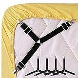 #6: DCOICFAN 4 Pcs Bed Sheet Fasteners Adjustable Cover Grippers Holder Slip-Resistant Belt Mattress Blankets Grippers Cover Fasteners with Metal Clips