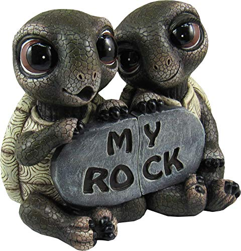 DWK - Rock Solid Love - Adorable Romantic Turtle Couple Two-Piece Figurine Best Friends Lovers Collectible Office Desk Statue Home Decor Patio Garden Accent, 5.5-inch from DWK