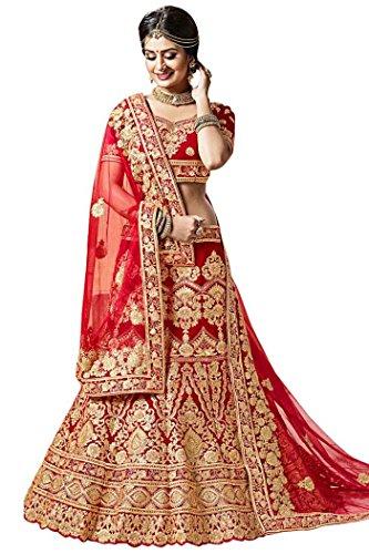 - INMONARCH Indian Bridal Maroon Velvet Lehenga Choli LKI40027UC Unstitched Maroon