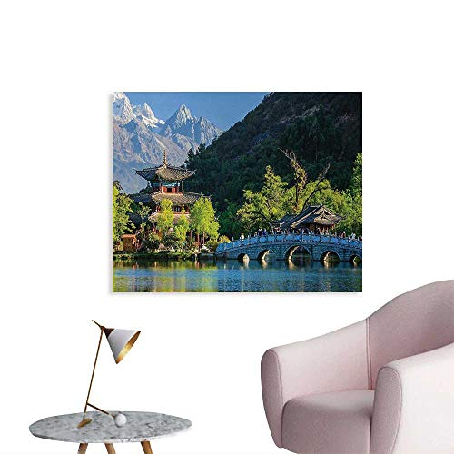 Tudouhoho Ancient China Art Poster Old Town Scene of Lijiang Black Dragon Pool Park Jade Dragon Snow Mountain Photographic Wallpaper Multicolor W48 xL32