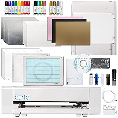 Silhouette Curio Crafting Machine with Lots of Accessories! Including Deep Cut Blade, Etching, Stippling, Sketching, Emboss, and More Bundle