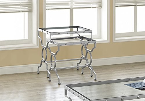 (Monarch Specialties I I 3321 Nesting Table Set with Tempered Glass, Set of 2, Silver)
