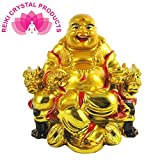 Feng Shui Laughing Buddha On Chair With Ingot And Money Coin For Health, Wealth And Happiness