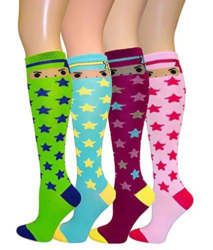 Women's Soft Knee High Socks,Casual, Argyle Plush, Multi Color Value Pack of 4 (Star Knee Socks)