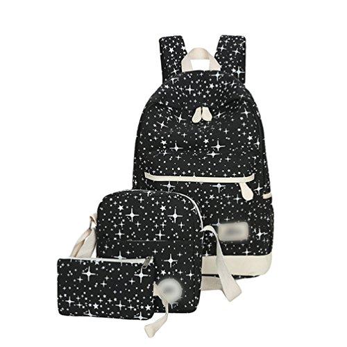 Sentao Conjunto de 3 Vintage Mochila de lona Moda Bolsa de hombro Casual Mochila Escolar Bolsa de hombro Negro