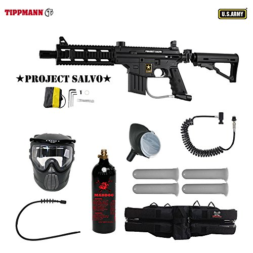 US Army Project Salvo Paintball Marker Gun 3Skull 4+1 Mega Set + Remote (Project Salvo Paintball Guns)