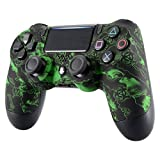 eXtremeRate Pattern Soft Touch Grip Front Housing Shell Faceplate for Playstation 4 PS4 Slim PS4 Pro Controller JDM-040 JDM-050 JDM-055 - Green Viral Infection