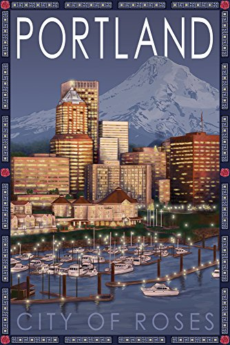 Portland, Oregon - Skyline at Night Art Print, Wall Decor Travel Poster