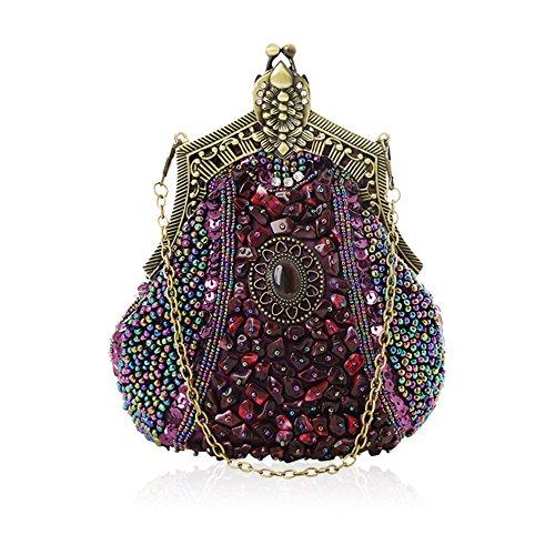 Lovely Main Femmes Rabbit Purple Partie Sac color Mode Les Purple Pour Soirée Perle Grande Pochette Rétro À Capacité 1r1qvp