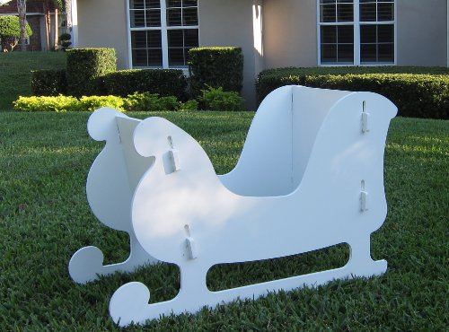 Teak Isle Christmas Outdoor Santa Sleigh And 2 Reindeer