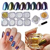 NICOLE DIARY 10Box Chameleon Mirror Powder Chrome Pigment Nail Body Art Decoration with DIY Brushes