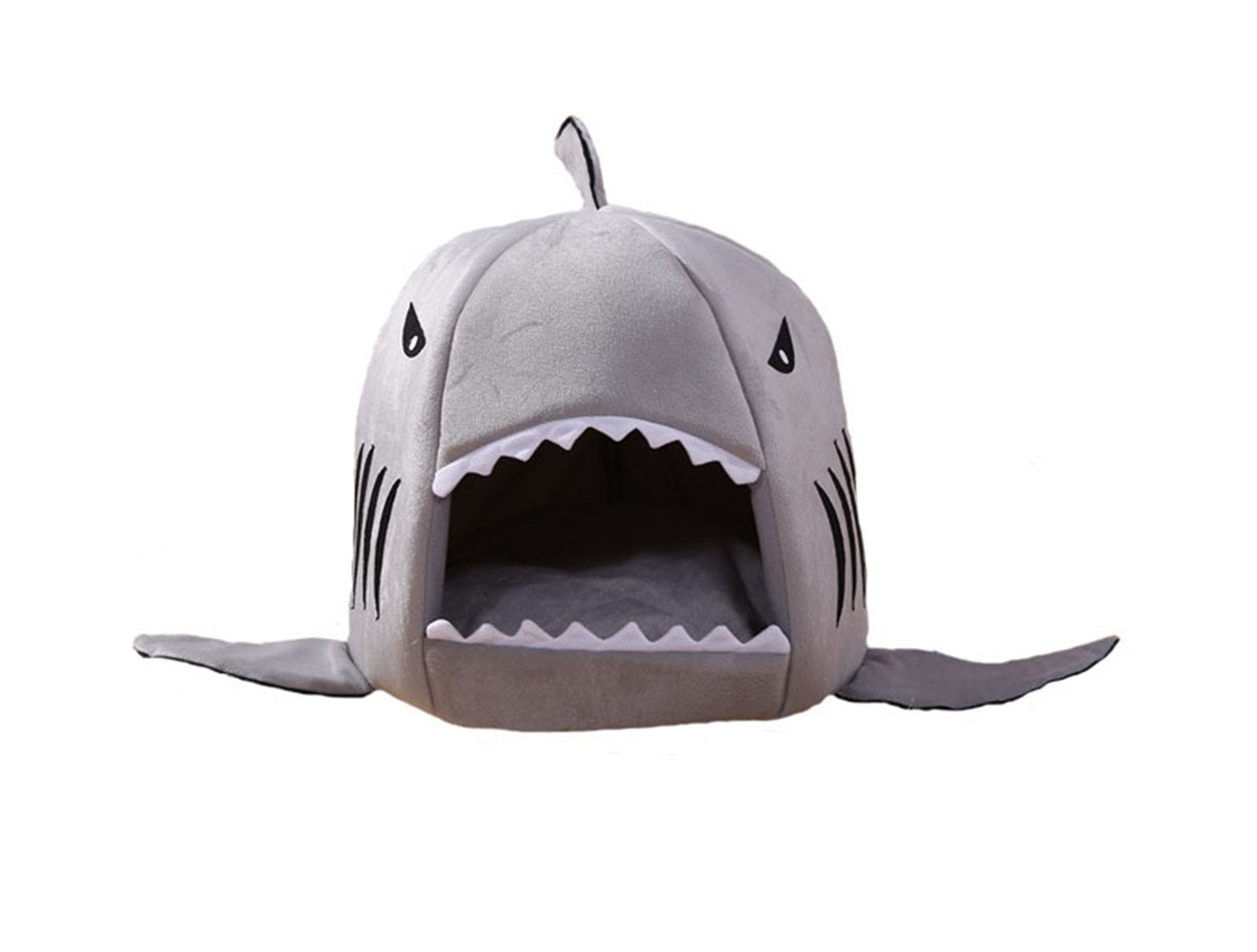 D-Foxes Cozy Shark Bed Puppy Cat Indoor Outdoor Cave Sweet House Bed Dog Play Room Bed with Removable Cushion Inside