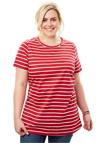 Women's Plus Size Perfect Print Crewneck Tee Classic Red White (Ladies Classic Crewneck Tee)