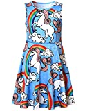 Girls Summer Dresses Unicorn Rainbow Cute American Party Teens Kid Casual Blue
