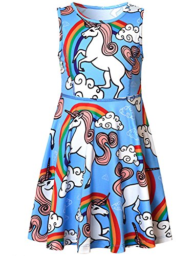Girls Summer Dresses Unicorn Rainbow Cute American Party Teens Kid Casual Blue by Jxstar