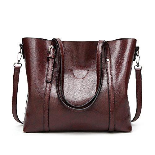 Bags Hobo Tote Leather Shoulder Women's Handbags Purses Bag Handle Coffee LIZHIGU Top Crossbody qPAcF