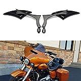 Black Universal Motorcycle Rearview Side Mirrors For Honda Kawasaki Suzuki Harley Bolt (Black-Harley)