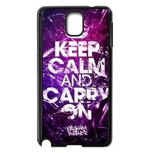 Mantenga la calma para continuar 004 Samsung Galaxy Note 3 funda caso de la cubierta Negro caja del teléfono celular Funda Cubierta EOKXLLNBC05551