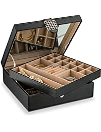 Co 28 Section Jewelry Box - 2 Layer - Buckle Snap & Magnet Closure - Large Mirror - Leather Design - Black - Jewelry Organizer for Women & Girls - Holder for Earring Ring Necklace & Bracelet